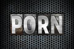 Porn Concept Metal Letterpress Type - stock illustration