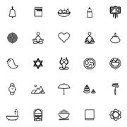 Zen society line icons on white background Stock Illustration