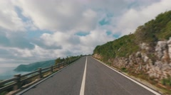 Speedy Driving on a Narrow Road in Mountains - stock footage