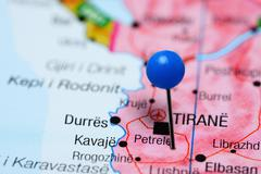 Petrele pinned on a map of Albania Stock Photos