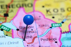 Lezhe pinned on a map of Albania Stock Photos