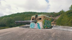 Old Coastal Artillery with Modern Graffiti Stock Footage