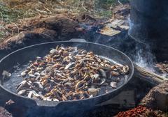 Mushrooms on frying pan - stock photo