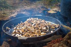 Mushrooms on frying pan Stock Photos