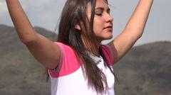 Woman Meditating With Yoga Pose Stock Footage