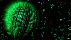 Spinning Technology Planet and Falling Code Numbers - stock footage