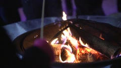Winter Time Marshmallow Roasting over Open Fire - Treats on a stick Stock Footage
