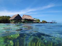 Restaurant over the sea in Bocas del Toro Stock Photos