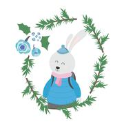 Bunny in Winter Clothes Stock Illustration