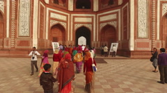 Entrance to the Taj Mahal, Agra, India - stock footage