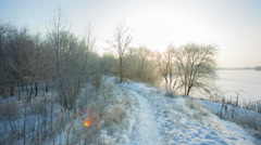 Pathway in winter park at morning - stock footage