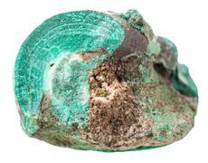 Pebble of Malachite mineral stone isolated Stock Photos