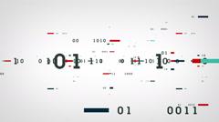Binary Data Bits White Stock Footage