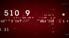 Data And Numbers Red Stock Footage