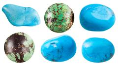 Turquoise and its imitations gem stones Stock Photos