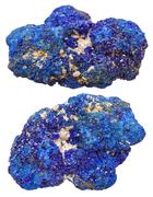 Two azurite mineral gem stones isolated Stock Photos