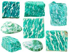 various green amazonite mineral gem stones - stock photo