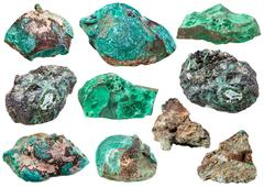 various malachite mineral gem stones isolated - stock photo