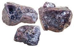 three Cuprite mineral gem stones isolated - stock photo