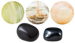 black and marble onyx natural mineral gem stones - stock photo