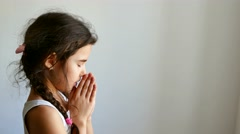 Stock Video Footage of girl teen praying church belief in god
