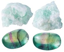 Fluorite (fluorspar) tumbled gem stones and rocks - stock photo