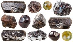 various tourmaline gem stones isolated - stock photo