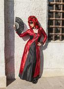 Disguised Woman with a Fan - Venice Carnival 2012 Stock Photos