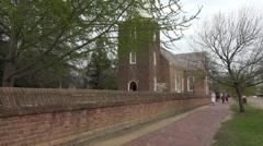Colonial Williamsburg Virginia historic church actor HD Stock Footage