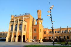 Wroclaw, Poland - June 6, 2015: Main railway station building at sunset in Wr Stock Photos