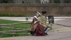 Colonial Williamsburg Virginia historic costume people HD Stock Footage