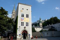 Salzburg, Austria - September 1, 2015: Old narrow building in Salzburg in Aus - stock photo