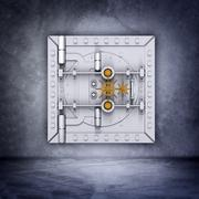 Metallic bank vault door Stock Illustration