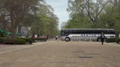 Colonial Williamsburg Virginia main street tourist bus HD Stock Footage