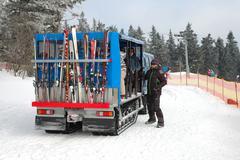 Janske Lazne, Czech Republic - February 17, 2015: Unidentified people in snow - stock photo
