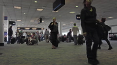 Crowded passenger Dulles International Airport terminal fast HD 049 Stock Footage