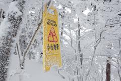 Warning caution sign board on snowy trees on hill Kuvituskuvat