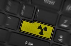 Symbol on button keyboard, radioactive Stock Photos