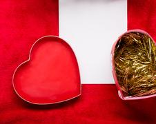 Valentines Day background with paper card on red - stock photo