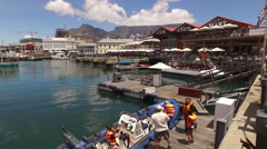 Victoria and Alfred Waterfront and Table mountain - Cape Town, South Africa Stock Footage