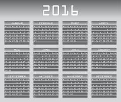 Stock Illustration of German calendar 2016 greyscale vector