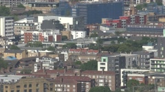 4K Aerial view suburban area London urban city residential house rooftop day UK  - stock footage