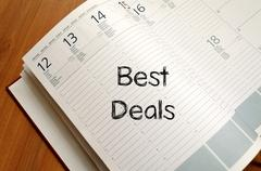 Best deals write on notebook - stock photo