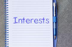 Interests write on notebook - stock photo