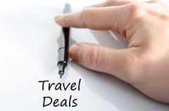 Travel deals text concept Stock Photos
