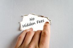 No hidden fees text concept Stock Photos