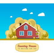 House facade. Traditional cottage. Vector illustration - stock illustration