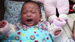 4 months old baby girl crying Stock Footage