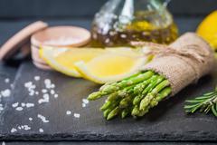 Bunch of fresh asparagus stems Stock Photos