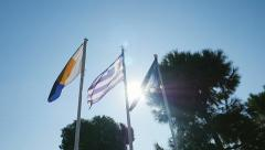 Flag of Thessaloniki, Flag of Greece, Flag of European Union Stock Footage